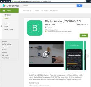 Blynk Arduino ESP8266 RPi Android App Google Play