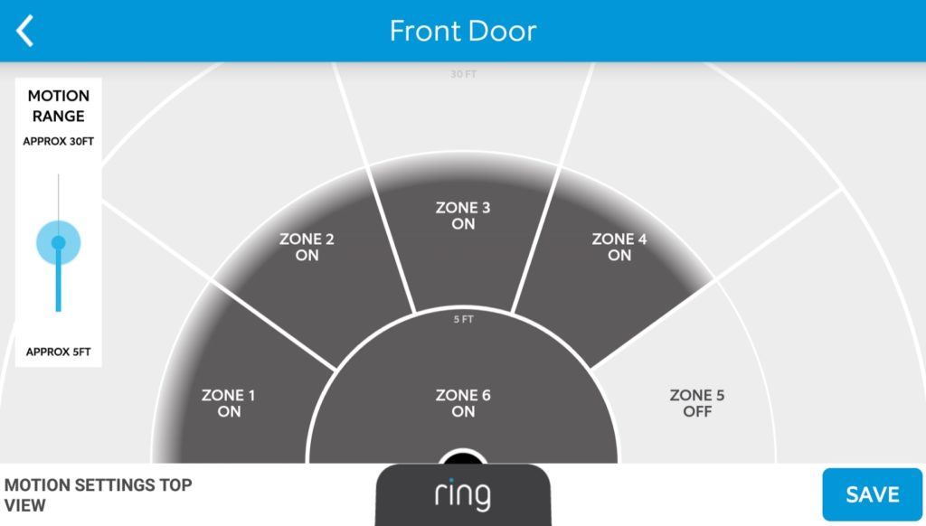 Screenshot of Motion Zone Settings Ring Wi-Fi Video Doorbell Android App