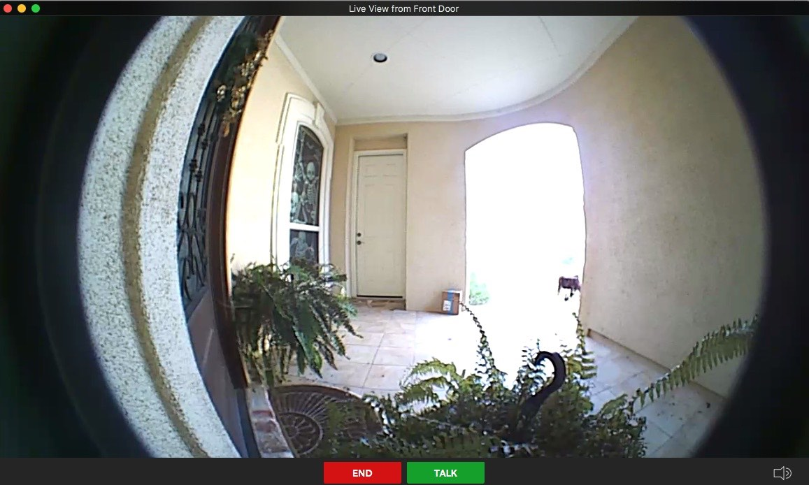 Screenshot of Ring Wi-Fi Video Doorbell View from Front Door Package