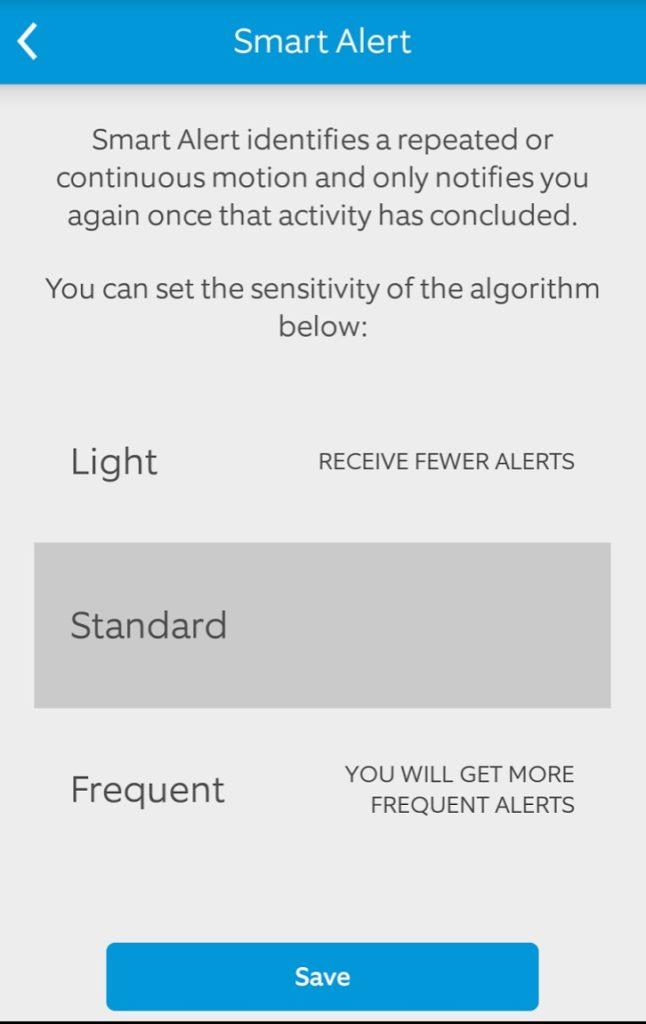 Screenshot of Smart Alert Settings Ring Wi-Fi Video Doorbell Android App