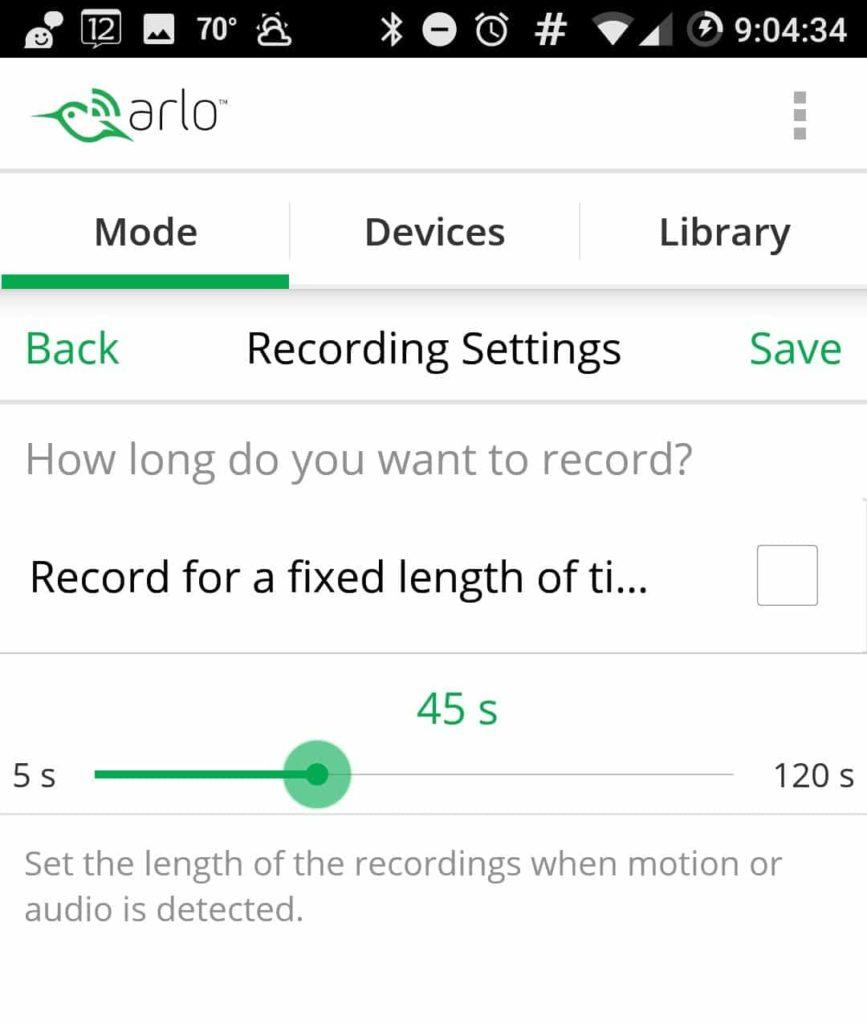 Screenshot of Netgear Arlo Pro Review Android App Choose Recording Length