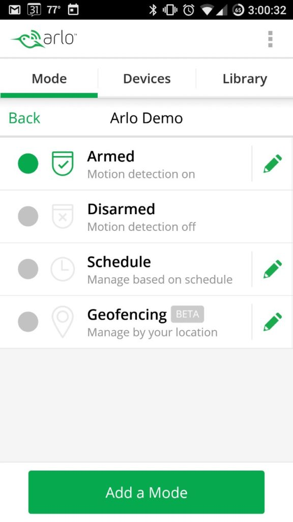 Screenshot of Netgear Arlo Pro Review Android App Mode Settings