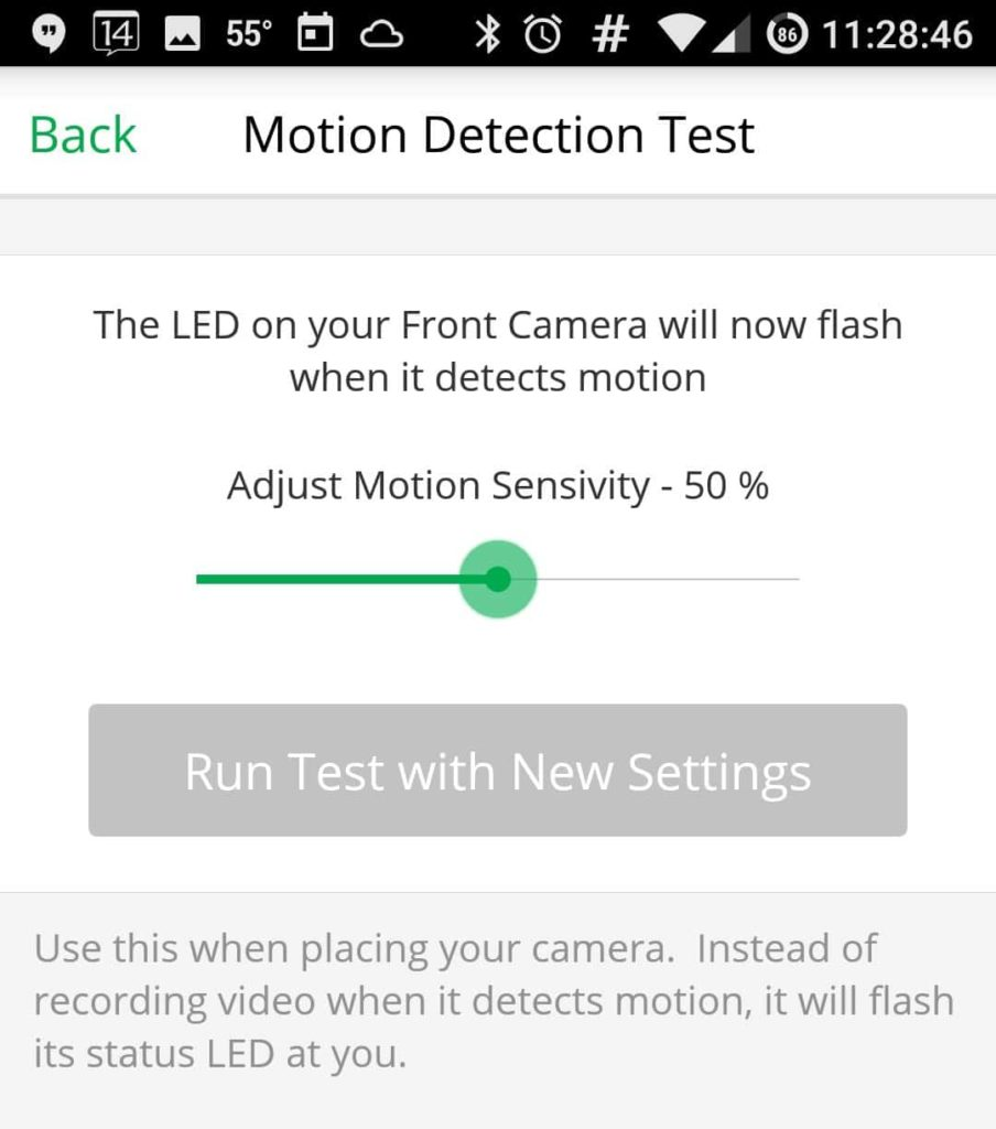 Screenshot of Netgear Arlo Pro Review Android App Motion Detection Test