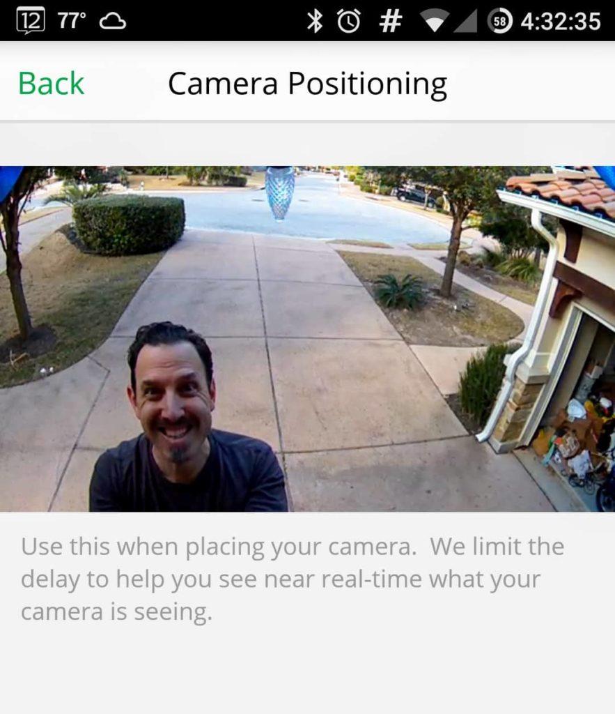 Screenshot of Netgear Arlo Pro Review Front Camera App Positioning