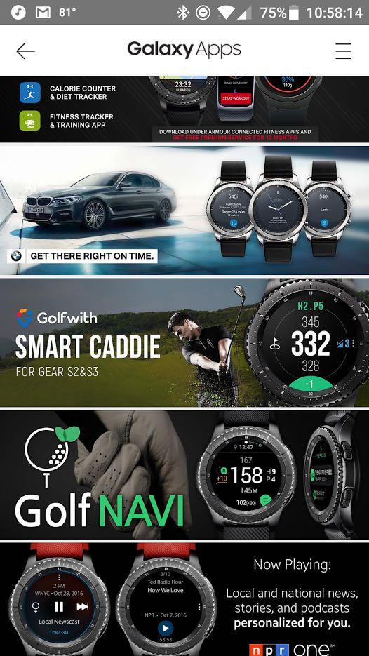 Screenshot of Samsung Gear Smartwatch App Store