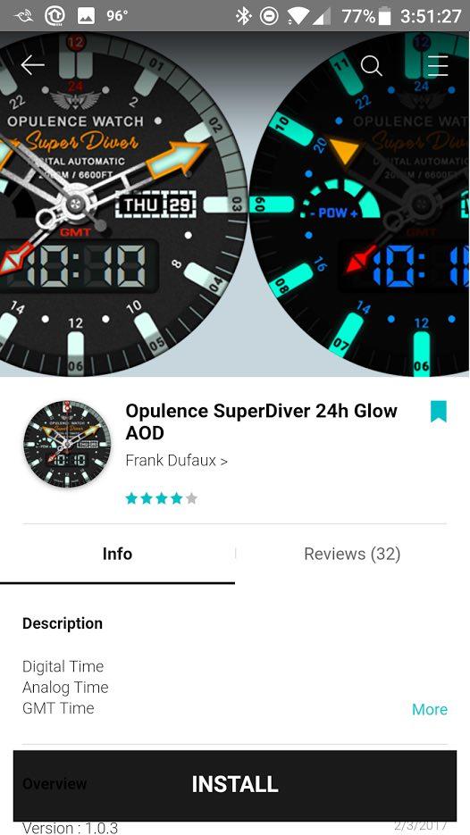 Screenshot of Samsung Gear Smartwatch Opulence SuperDiver Glow AOD Watch face
